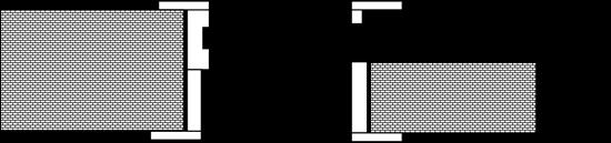 Одностулкові двері. Зрушення в металічний пенал з обрамленням отвору з одної сторони