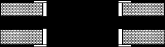 Двостулкові двері. Зрушення в металічний пенал з обрамленням отвору з двох сторін