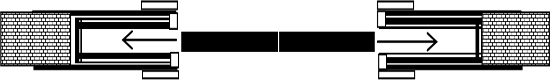 Двостулкові двері. Зрушення в металічний пенал, без обрамлення отвору. Стіна до 10 см